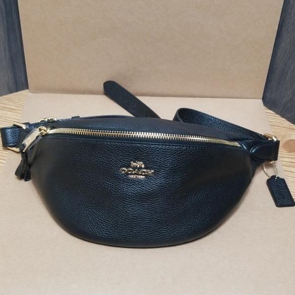 f8e0a53eae Coach - Black Belt Bag Pebble Leather NWT
